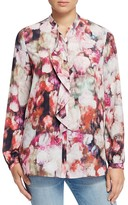 NYDJ Ruffled Abstract Floral Print Blouse