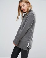 Brave Soul Sweater With Lace-Up Side