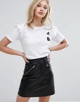 MANGO Embellished Ruffle Detail T-Shirt