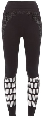 adidas by Stella McCartney Logo-print Cut-out Warp-knit Leggings - Womens - Black