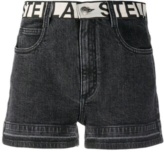 Stella McCartney Contrast Logo Belt Denim Shorts