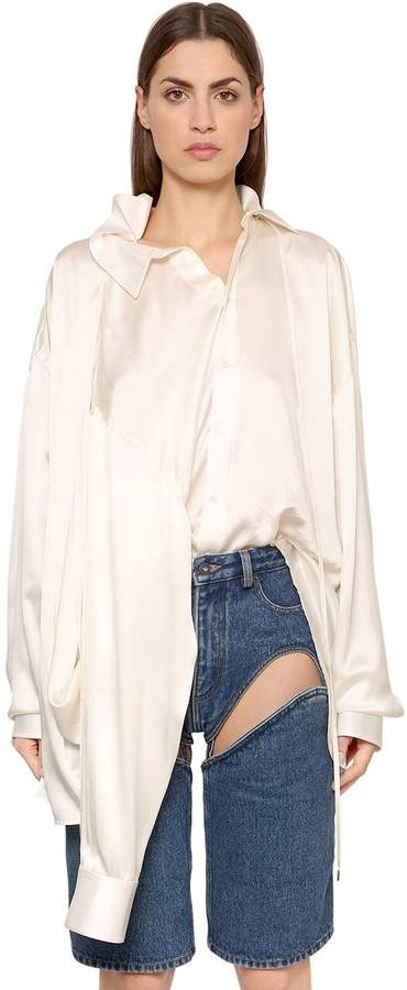 Y/Project Oversized Silk Satin Shirt W/ 4 Sleeves