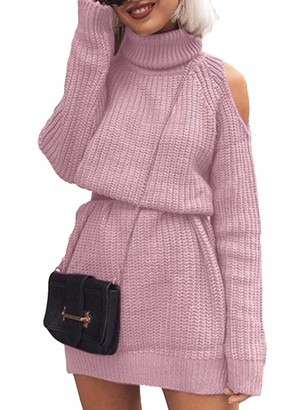 CORAFRITZ Women Long Sleeve Knitted Dress Turtieneck Cold Shoulder Sexy Bodycon Jumper Spring Mini Sweater Dress Long Sleeve Solid Color Mini Short Skirt Fashion High Collar Sky Blue
