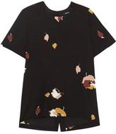 Madewell Printed Silk Crepe De Chine Top - Black