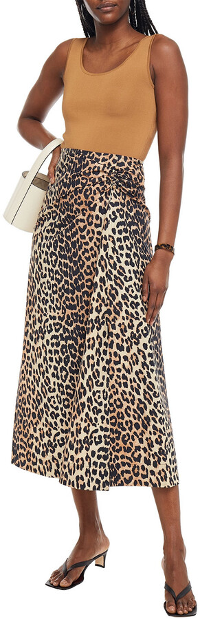 Thumbnail for your product : Ganni Barbell-embellished Floral-print Cotton-poplin Midi Skirt