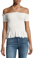 Rebecca Taylor Smocked off-the-Shoulder Pop Top, White