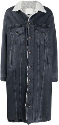 R 13 Lyle faux-shearling trucker coat