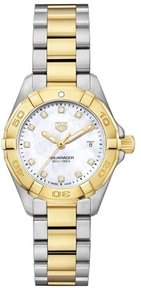 Tag Heuer 18kt Gold and Diamond Dial Aquaracer 300m Quartz Watch 27mm