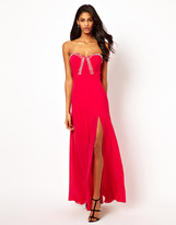 Lipsy VIP Jewel Bodice Maxi Dress with Thigh Split - Pink