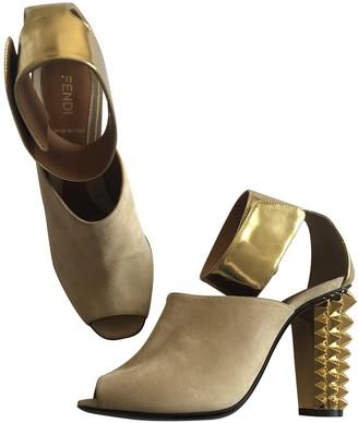 Fendi Gold Suede Sandals