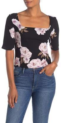 Free Press Square Neck Elbow Sleeve Top