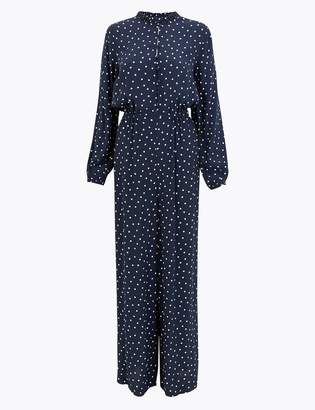 M&S CollectionMarks and Spencer Polka Dot Frill Detail Collar Jumpsuit