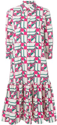 La DoubleJ Dropped Waist Geometric Print Dress