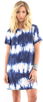 West Coast Wardrobe Chasing Waterfalls Tie Dye Dress in Navy/White