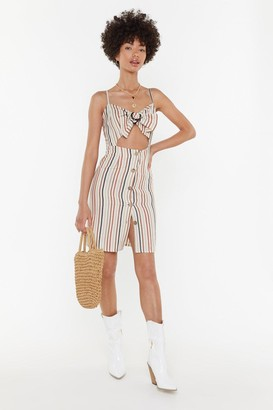 Nasty Gal Womens On The Right Lines Striped Cut-Out Dress - Orange - 8