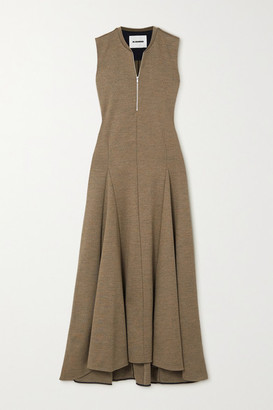 Jil Sander Pleated Wool-jersey Maxi Dress - Light brown