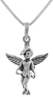 Carolina Glamour Collection Sterling Silver 3D Pixie Fairy Pendant on 18 Inch Box Chain Necklace