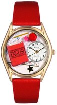 Whimsical Watches Women's C0640008 Classic Gold English Teacher Red Leather And Goldtone Watch