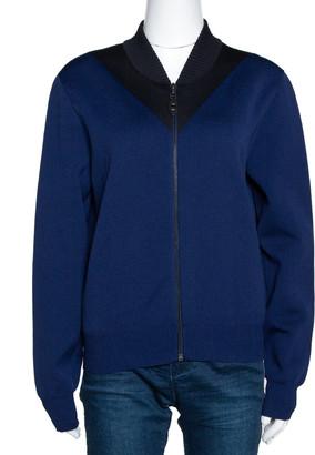 Louis Vuitton Navy & Black Wool Blend Zip Front Cardigan L