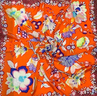 Adorn Gorgeous Luxurious Quality Floral Print Orange Mulberry Silk Large Scarf