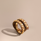 Burberry Double-wrap Studded Bridle Leather Bracelet