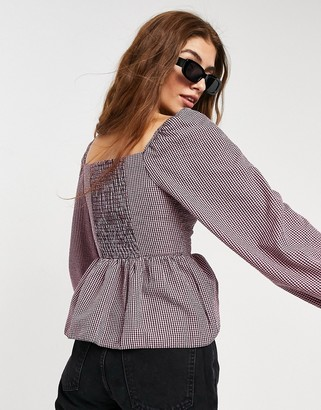 New Look sweetheart neck peplum blouse in lilac check