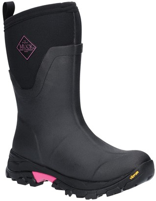 Muck Boots Arctic Ice Mid Height Wellington Boots - Black/Pink