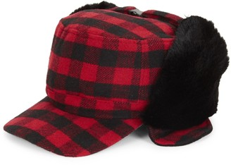 Surell Faux Fur Trimmed Check Fudd Hat