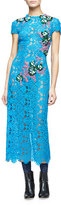 Monique Lhuillier Short-Sleeve Embellished-Lace Midi Dress, Blue Bell