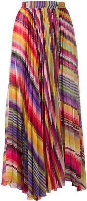 Etro Pleated Striped Print Skirt