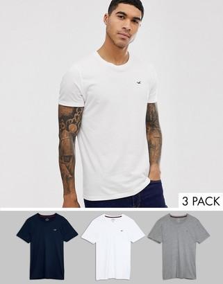 Hollister 3 pack crew neck t-shirt seagull logo slim fit in white/gray/navy-Multi