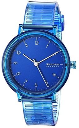 Skagen Aaren Transparent Three-Hand Watch (SKW2855 Blue Silicone) Watches