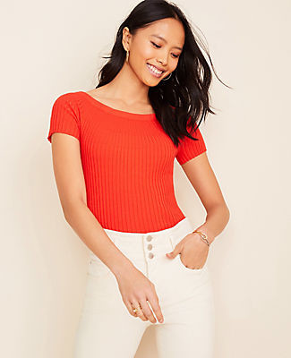 Ann Taylor Ribbed Off The Shoulder Sweater