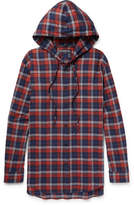 Balenciaga Oversized Checked Cotton-flannel Hooded Shirt - Red