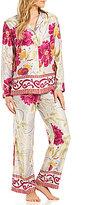 Natori Auburn Floral Border-Print Satin Pajamas