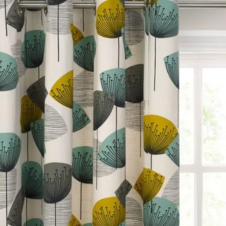 Sanderson Dandelion Clocks Pair Lined Eyelet Curtains, Aqua