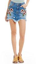 Free People Wild Rose Embroidered Fray Hem Mini Denim Skirt