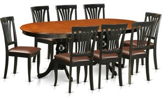 East West Furniture PLAV9-BCH Black and Cherry Rubberwood Dining Table with 8 Chairs