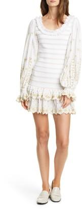 LoveShackFancy Celia Embroidery Detail Long Sleeve Cotton Minidress