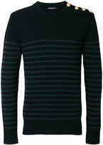 Balmain button-embellished striped jumper