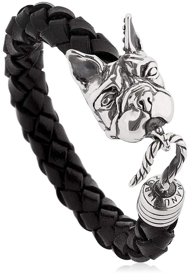 Manuel Bozzi Bulldog Leather & Silver Bracelet