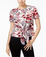 Kensie Tie-Front Floral-Print Top
