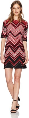 Sandra Darren Women's Petite All Over Printed Chevron Jersey Shift Dress