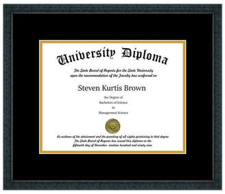"Perfect Cases, Inc. Single Diploma Frame with Double Matting, Classic Black, 8.5""x11"", UV"
