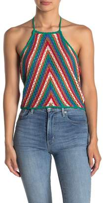 SKYLAR ROSE Chevron Print Crochet Knit Halter Top