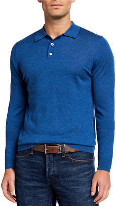 Neiman Marcus Men's Superfine Long-Sleeve Polo Sweater