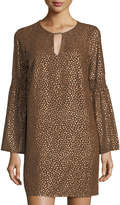 MICHAEL Michael Kors Long-Sleeve Metallic Shift Dress