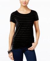 INC International Concepts Velvet-Stripe T-Shirt, Only at Macy's