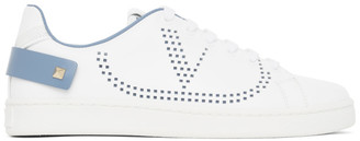 Valentino White and Blue Garavani VLogo Backnet Sneakers