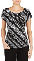 Allison Daley Petites Wide Scoop Neck Tribe Stripe Print Knit Top